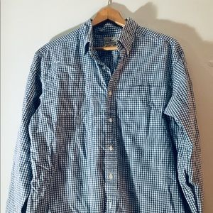 Blue checked button up shirt from L.L. Bean